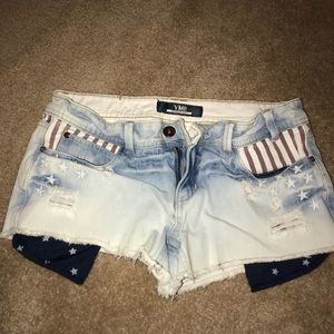 American Flag Inspired Jean Shorts